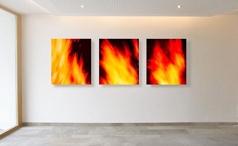 """Fotokunst aus der Werkreihe """"FEUER"""" von Sabine Freudenberger für die Galerie Klose Würzburg"""